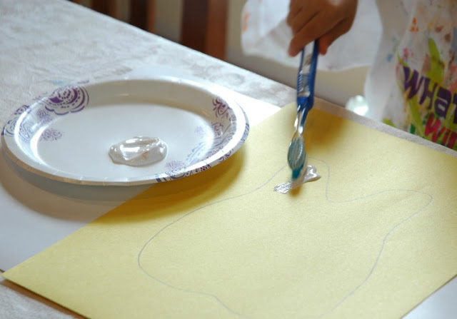 Painting With Toothbrush- Preschool Dental Health Craft
