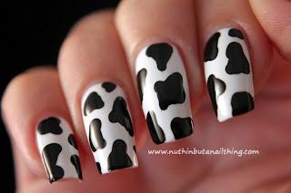 cow print nail art