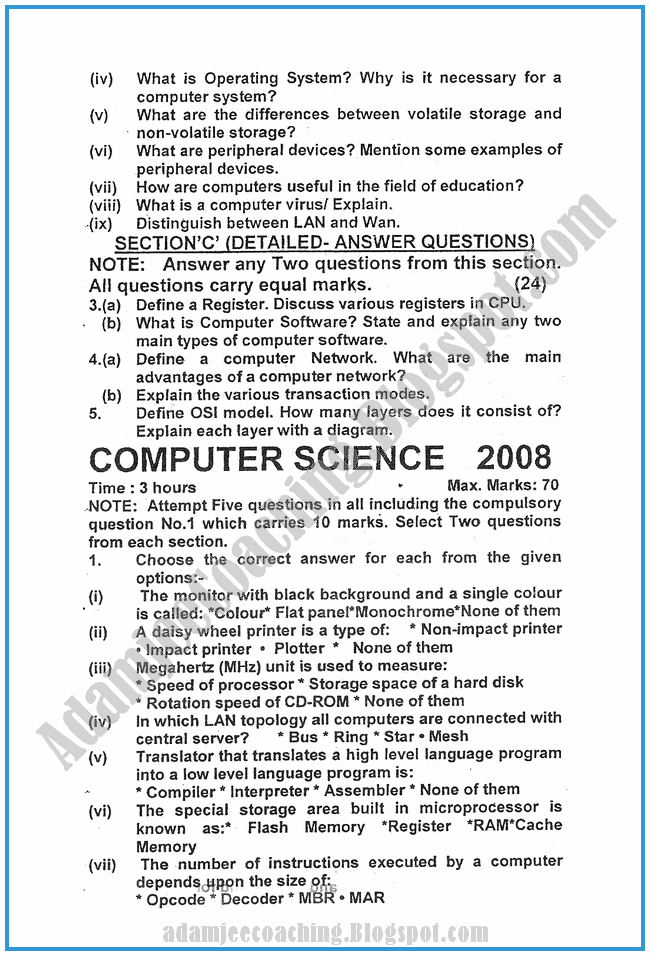 Computer-science-2009-past-year-paper-class-XI
