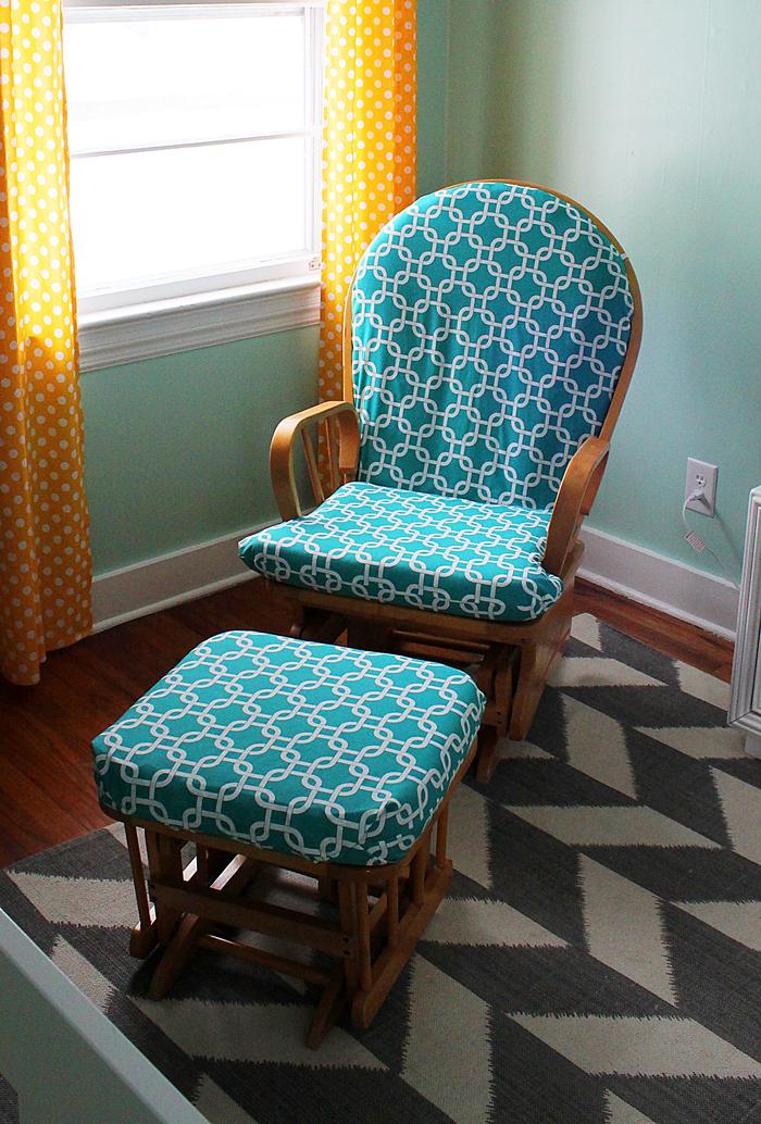 Sarah jerger nursery diy 2 glider rocker ottoman - Rocking chair cushion diy ...