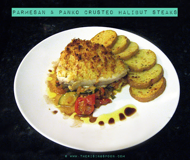 Parmesan & Panko-Crusted Halibut Steaks | The Rising Spoon
