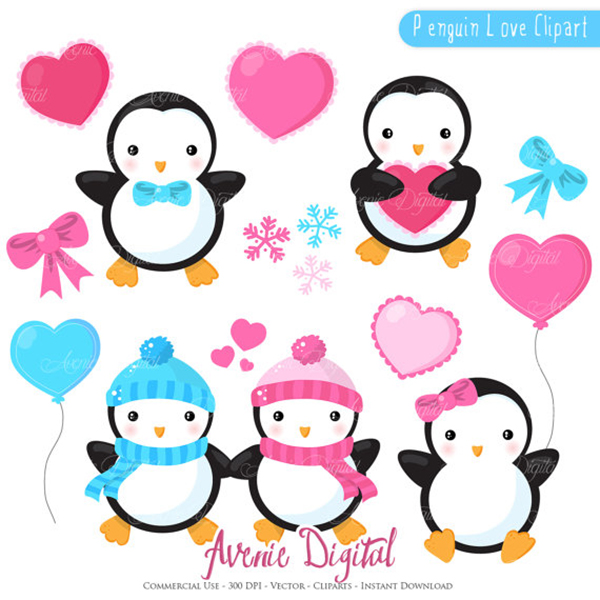 valentines penguins clipart scrapbook printables holiday clip art rh aveniedigital blogspot com scrapbooking clip art images scrapbook clip art free