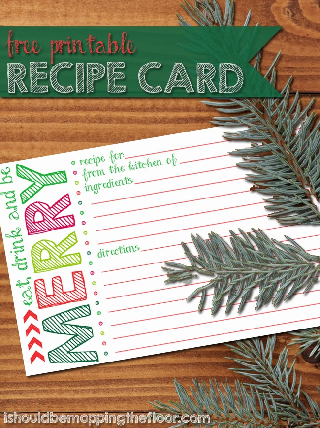 picture regarding Printable Christmas Recipe Cards named Printable Holiday vacation Recipe Card i really should be mopping the surface