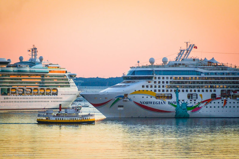 Casco Bay Bridge Cruise Ships arriving in Portland, Maine. Photo by Corey Templeton.