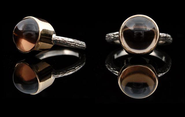 Кольцо с дымчатым кварцом