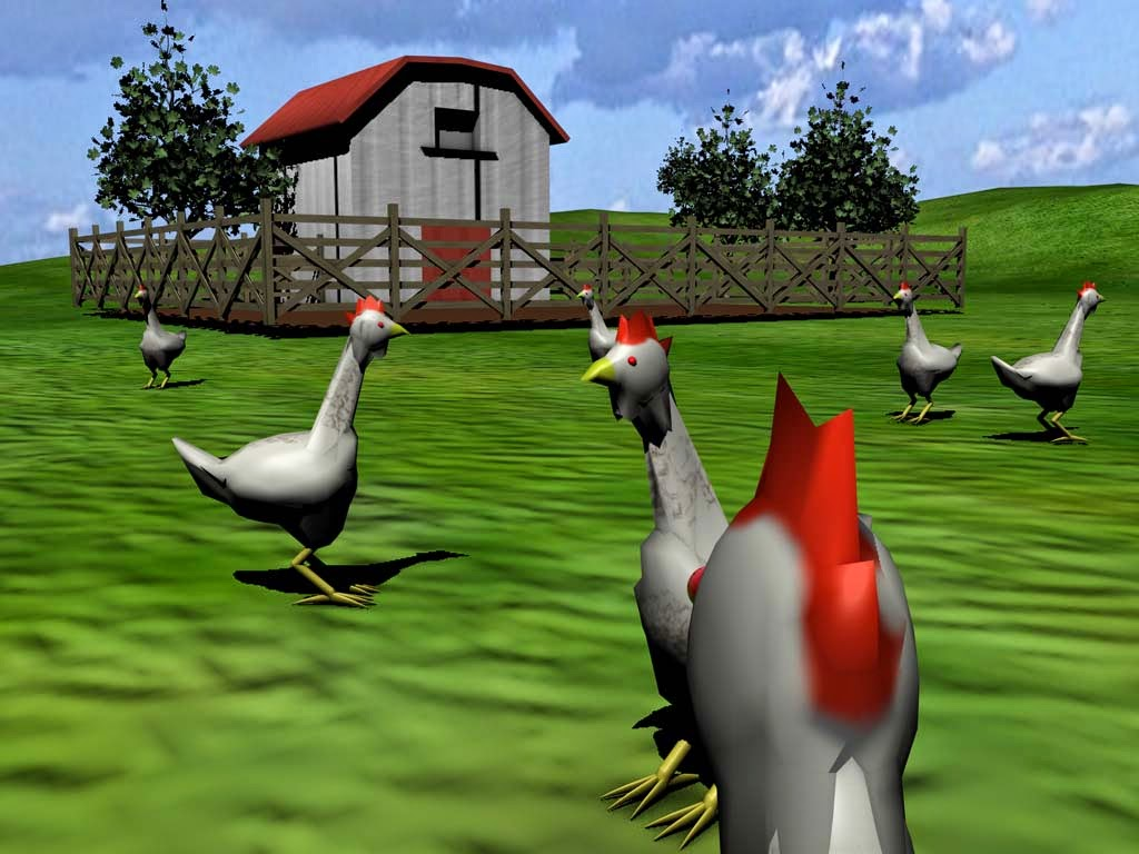 Virtual Free Range chickens roaming in their new 3D existence