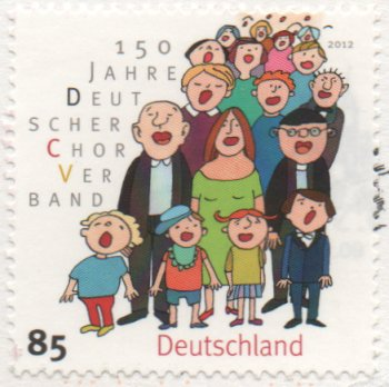 stamp with cartoon style choir