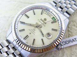 TITONI COSMO KING PRESIDENT MODEL SILVER DIAL - FLUTED WHITE GOLD BEZEL 14k - 25 JEWELS ROTOMATIC