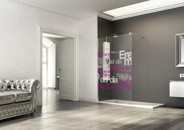El blog del ba o mamparas decoradas con impresi n vitrificada - Mamparas de bano con dibujos ...