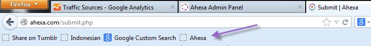 Tampilan tombol bookmarklet ahexa yang sudah di drag and drop pada browser mozila
