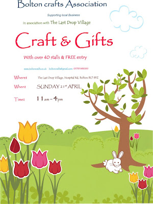 Last Drop Craft fair poster. Bolton 21.4.2013