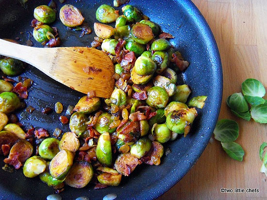 two little chefs: Brussels Sprouts with Bacon and Raisins