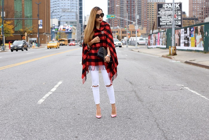 Madewell buffalo check cape scarf, asos ripped jeans, chanel classic flap bag, hermes bracelet, chanel earrings, chanel brooch, white sweater, christian louboutin so kate pink pumps, nyc blogger, fall essential, how to, singles day sale, prada retro sunglasses