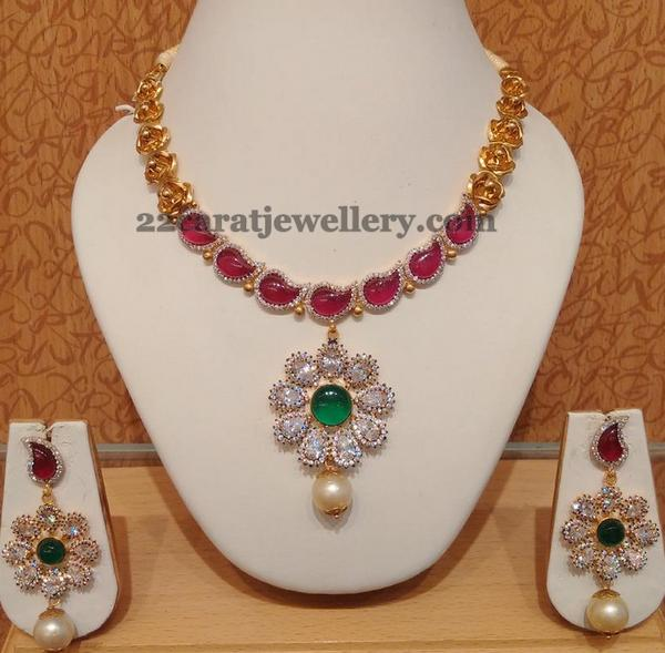 Ruby Choker with CZ floral Locket