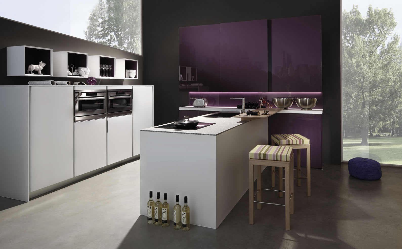 Purple Kitchen Finish With Astonishing Inspiration