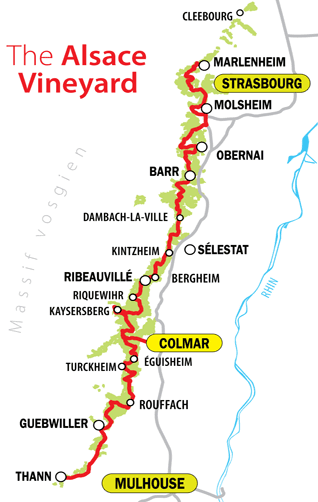 Overview and Map of Alsace Wine Route Villages Travel and