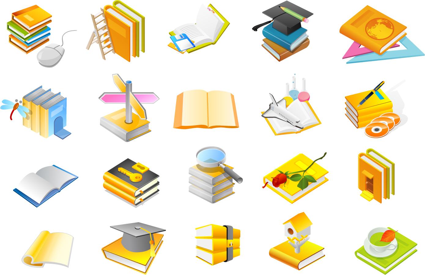 学習をテーマにした本のアイコン books of the four series vector イラスト素材