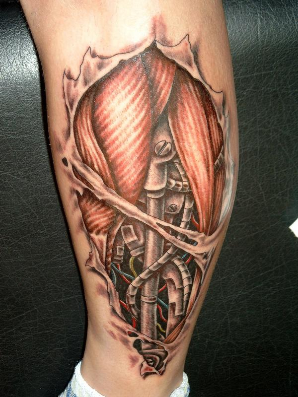 bio-mechanical tattoo on the calf