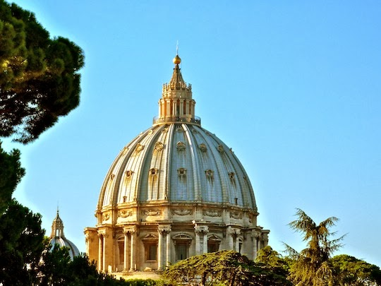 Photo of the St. Peter's Dome taken from the Vatican Museum Terrace