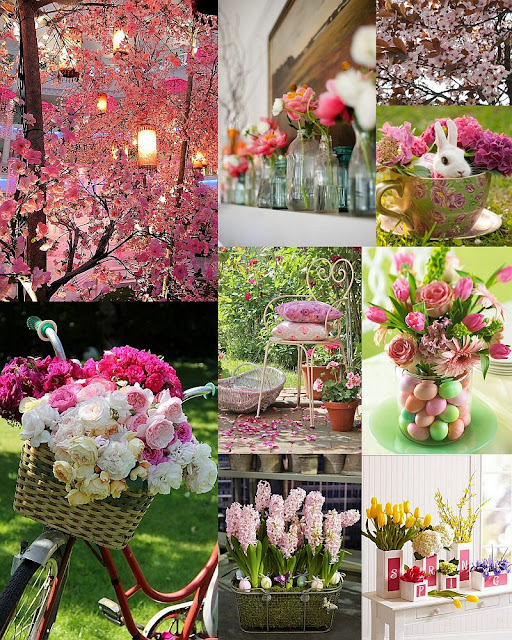 awesome pink and light pink spring mood board with blooming flowers