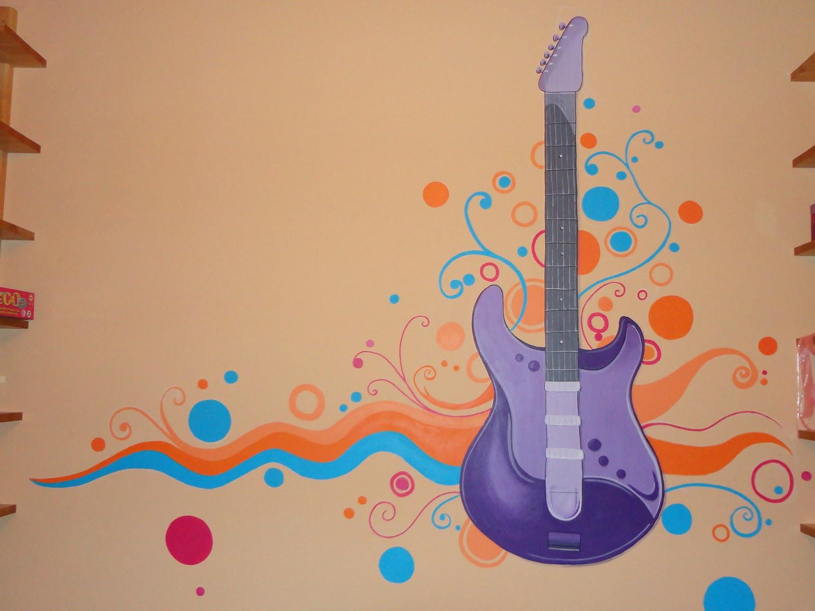Decopared mural guitarra for Murales pintados en paredes de habitaciones