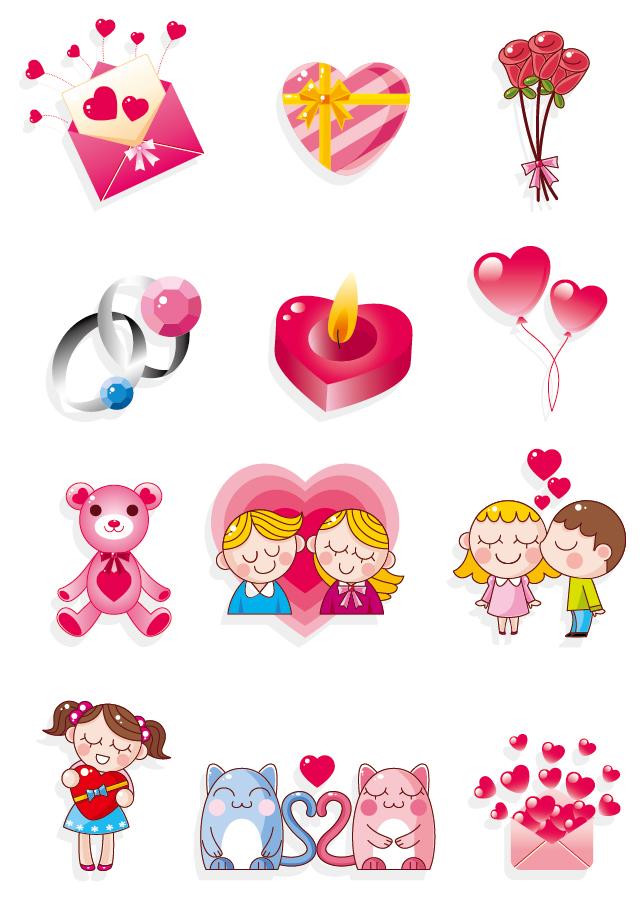 バレンタインデーのハート素材 Heart valentine day elements vector イラスト素材4