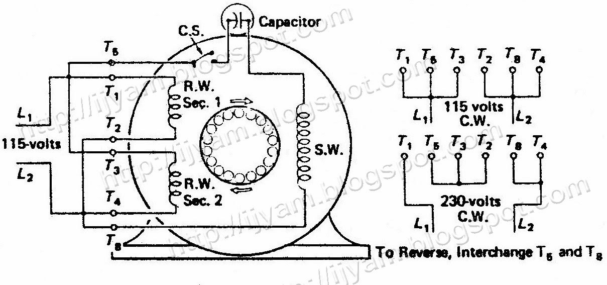 A two-voltage capacitor-start motor connected for clockwise rotation on 115 volts supply