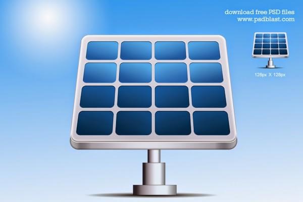 Solar Energy Vector Icon PSD