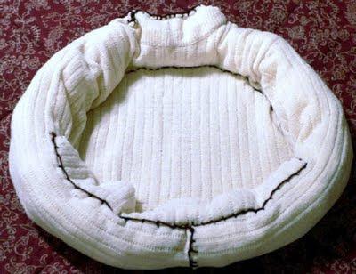 Cama feita com moleton