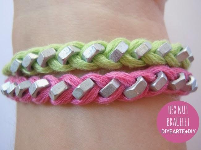 hex-nut-thread-bracelet-diy-diyearte-handmade-pulsera-tuercas-hilo-jewelry