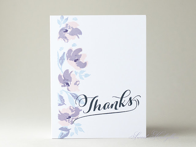 Thank You Card with Watercolored Anemones from WPlus9 by Sweet Kobylkin