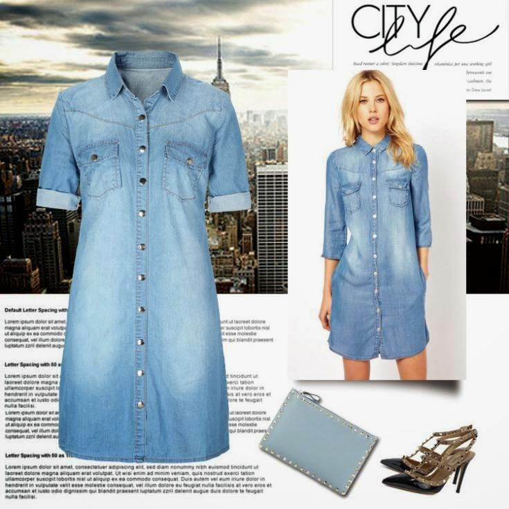 how to wear a denim shirt dress in the winter