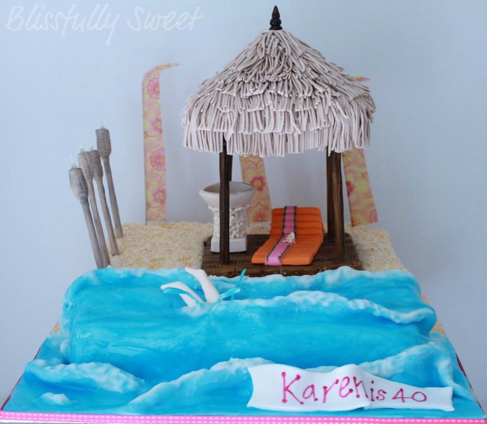 Blissfully Sweet Bali Themed 40th Birthday Cake