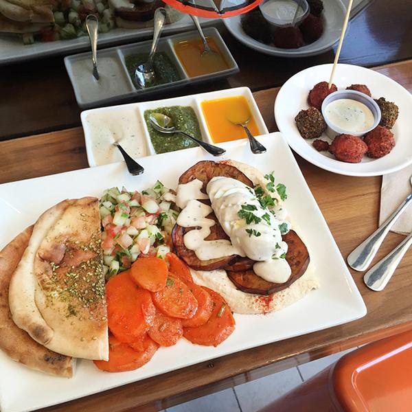 sabich platter and falafel sampler