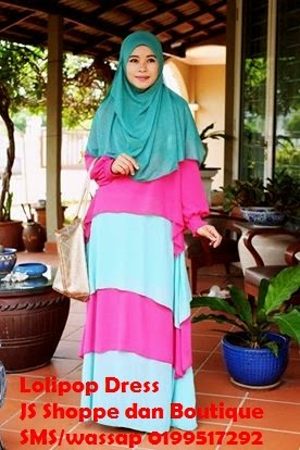 Dress Labuh Lolipop Pink/ Baby Blue