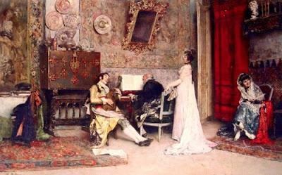 La lezione di musica il quasdro del pittore spagnolo Raimundo de Madrazo y Garreta