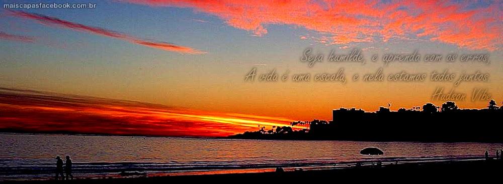 capa para facebook por do sol na praia com frase