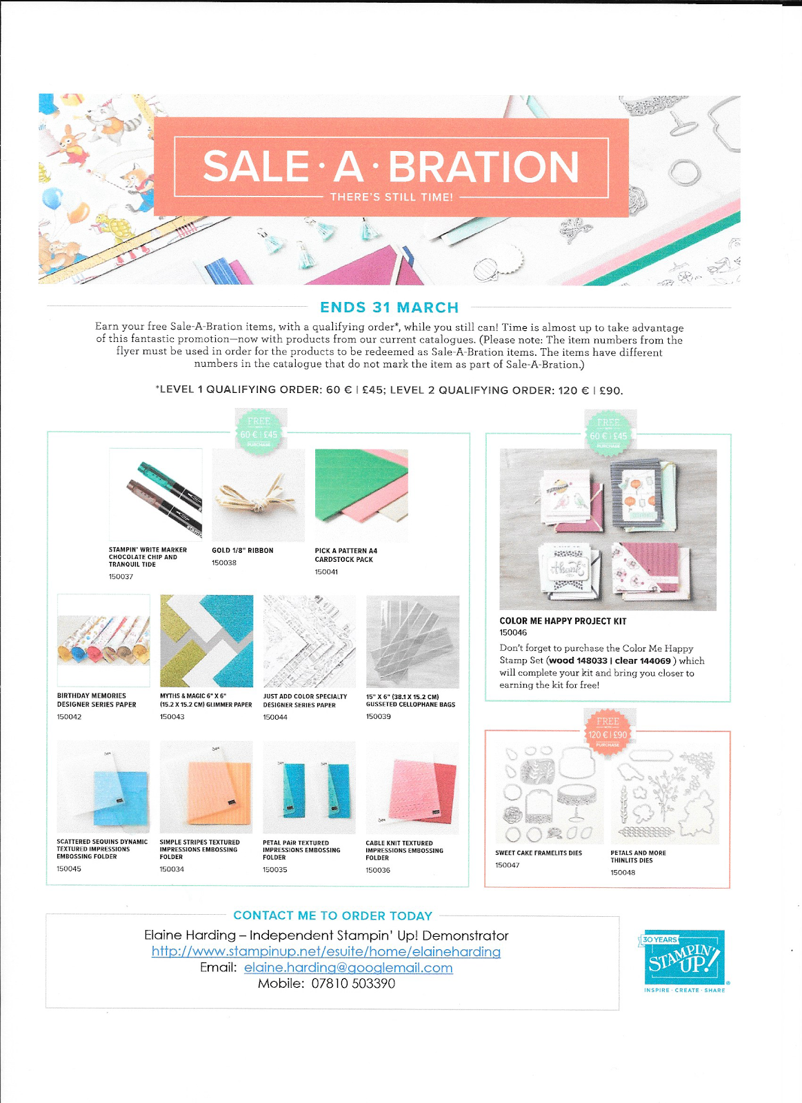NEW ITEMS ADDED 3RD RELEASE SALE-A-BRATION FROM CURRENT CATALOGUES!