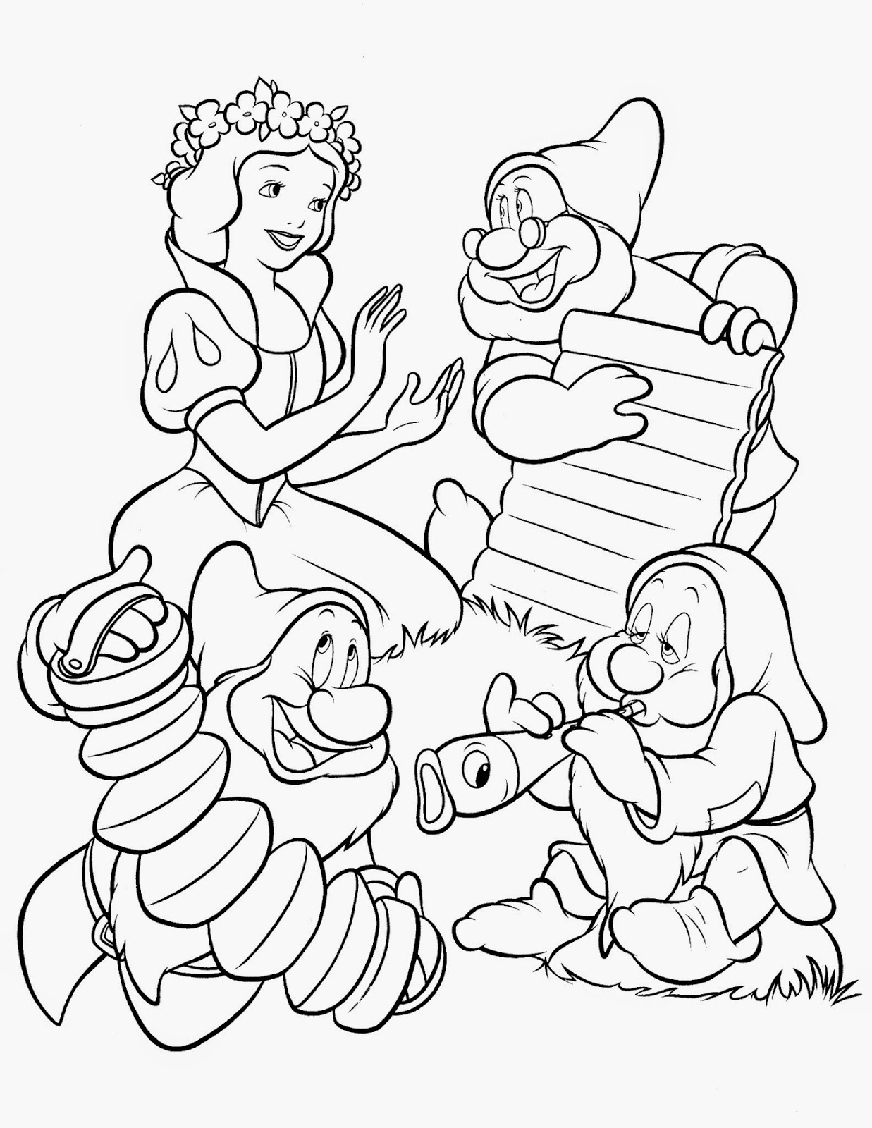 Fun learn free worksheets for kid for Snow white coloring pages