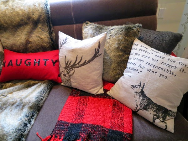 Winter couch update with rustic chic throw pillows and buffalo plaid
