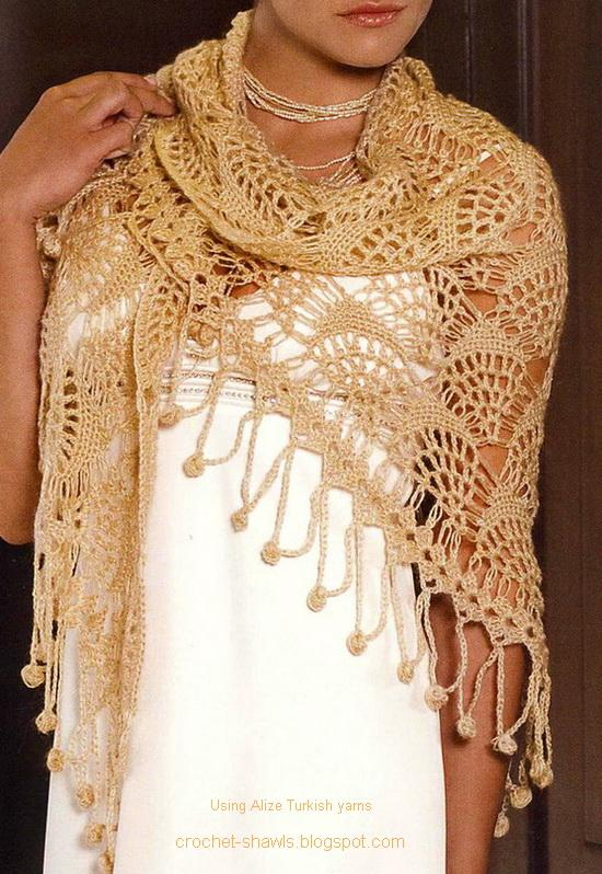 Patron Chal - Abanicos 5+Lace+Shawl+Alize