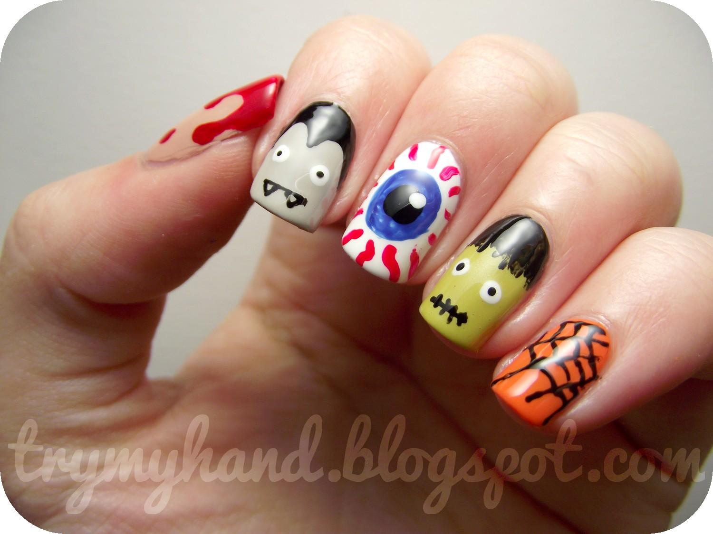 Try my hand halloween nails halloween skittles - Nail art halloween ...