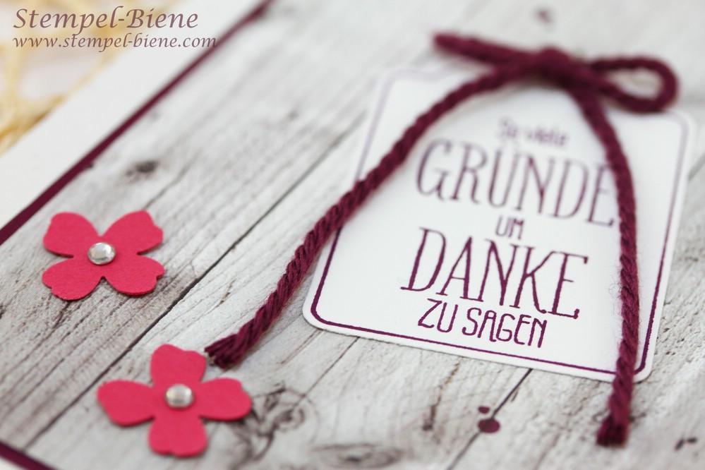 Stampin Up Mein Lichtblick, Dankeskarte, Sale a bration 2015, Stempelpartyprojekt, Stampin Up Sammelbestellung, Stempel-Biene, Anfängerkarte basteln, Brombeermousse