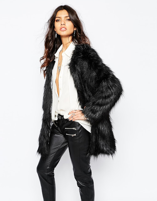 unreal fur black mink coat, zen black fur coat,