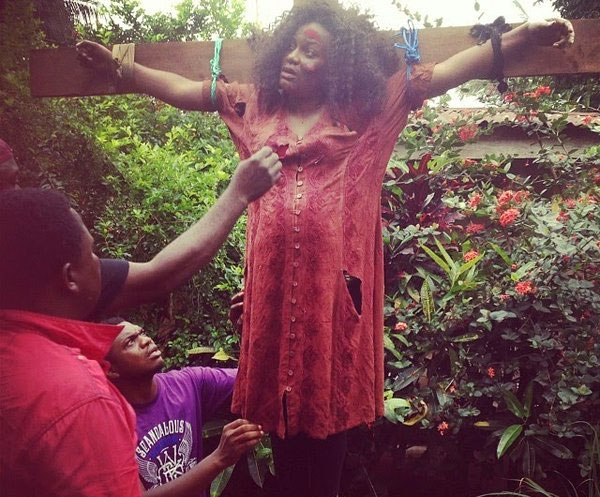 Actress Queen Nwokoye Captured, Tortured And Hung On A Cross (Graphic Photo)