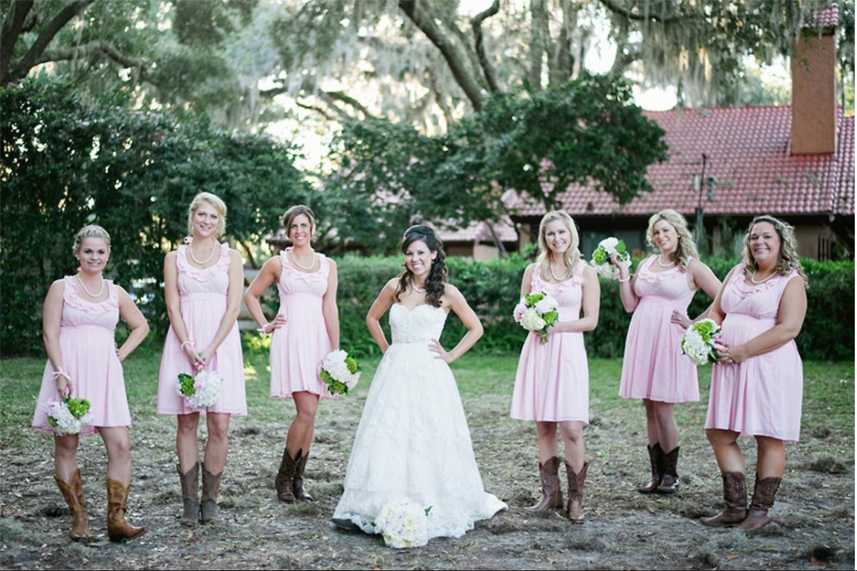 Independent designer real wedding pink bridesmaid dress flashback from the past photos from kristens october 2011 wedding bridesmaids wore the ruffle collar dress in pale pink the boots are perfect for an ombrellifo Gallery