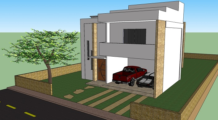 Projeto de casa moderna 2 andares 001 for Fachadas de casas modernas 1 pavimento