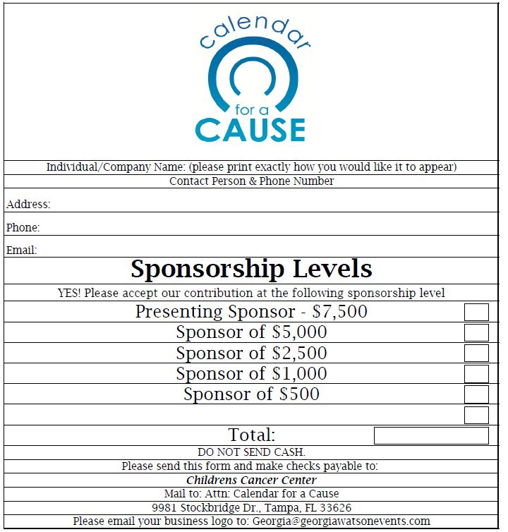 Calendar For A Cause Sponsorship Form