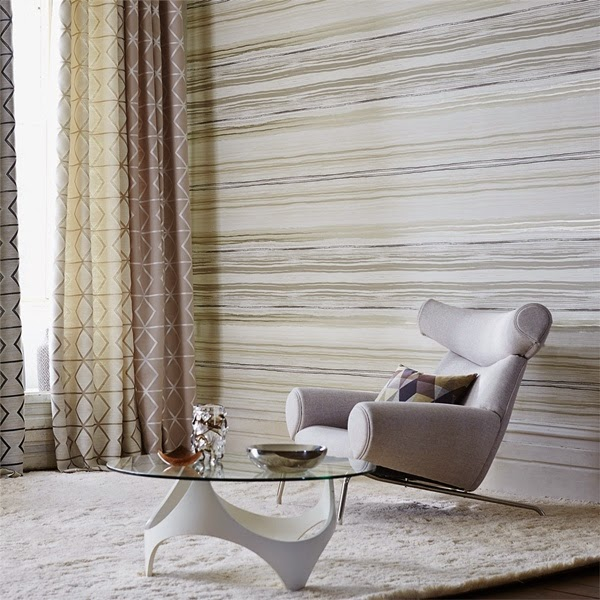 papel pintado de rayas en tonos beige colocadas horizontalmente ref 110825 - Papel Pintado Rayas Horizontales