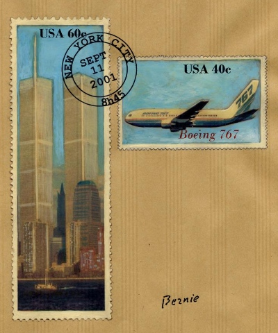 World Trade Center, Twin Towers & Boeing 767, September 11 2001 -- by Bernie